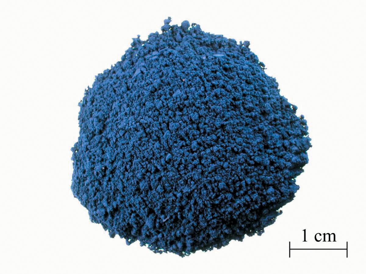 A color photo of powdered indigo dye.
