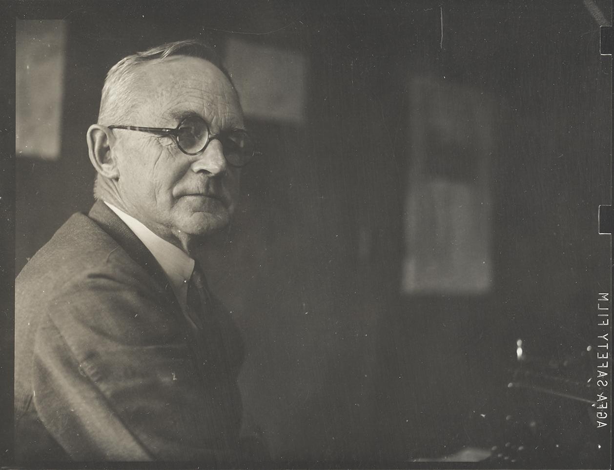 Elmer Drew Merrill ca1945 in office.