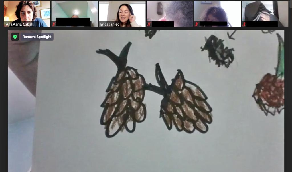 pine cone drawings during digital nature buddies program