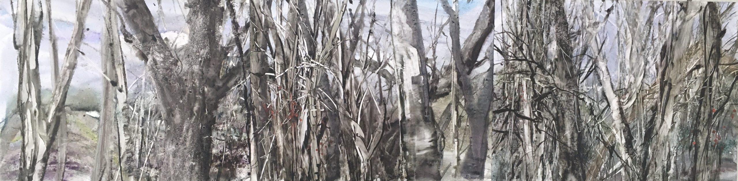 Panorama in watercolor of woods