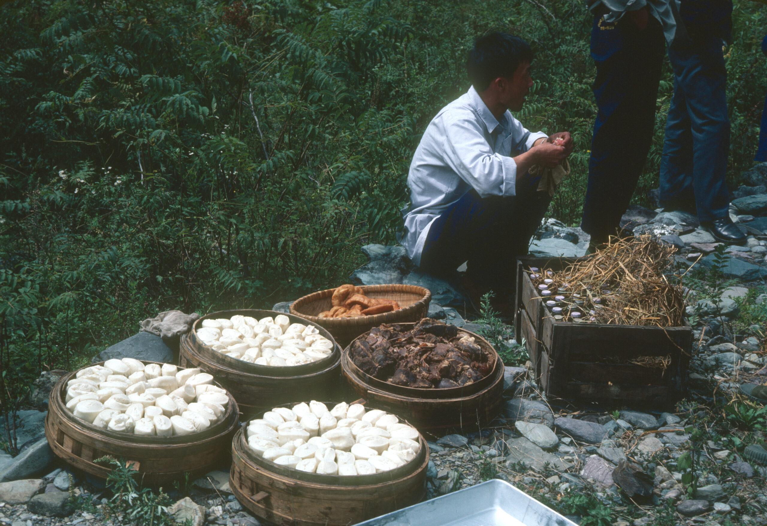 A picnic lunch of steamsed buns en route to Big Nine Lakes (Dajiuhu), Shennongjia.