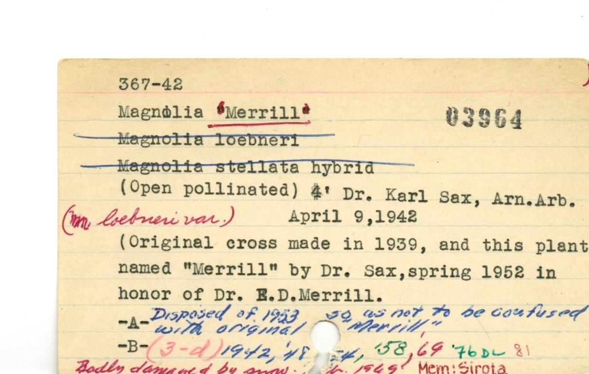 Historic accession card